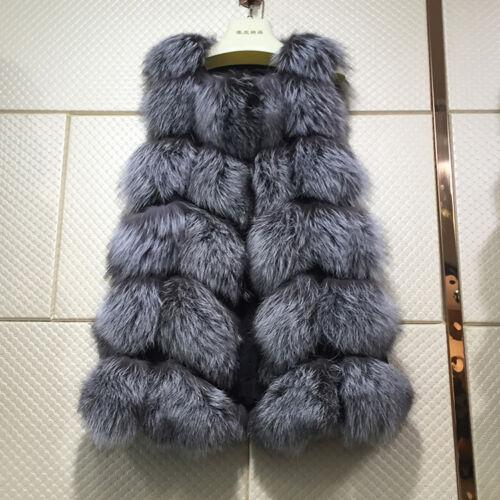 Vogue-Gilet-Noble-Mode-Veste-Femme-100-Fourrure-Renard-Manteau-Superbe-Luxe