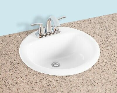 Gele 19 Inch Round Counter Top Drop In Vitreous China Bathroom Sink 19 White Ebay