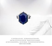Bague Argenté Art Deco Goutte Hexagone Retro Resine Facetté Bleu Class T53 Z3
