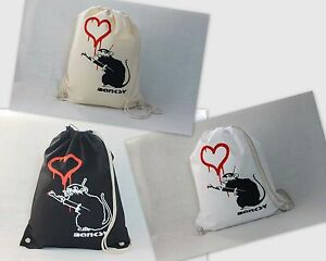 Turnbeutel-Rucksack-BANKSY-Heart-painting-Rat-Ratte-Love-Schwarz-Weiss-Natur