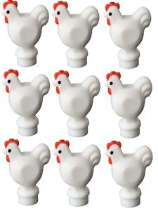 10 NEW LEGO WHITE CHICKENS animal bird lot minifig figure minifigure poultry