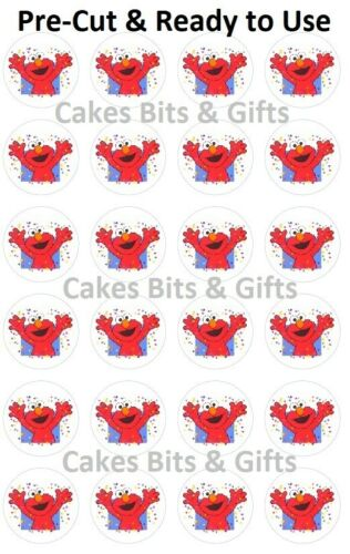 24X PARTY ELMO Edible Wafer Cupcake Toppers PRECUT Ready to Use