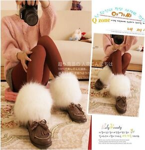 15cm-white-Wolf-faux-fur-funky-leg-warmers-boots-cover-club-dance-shoes