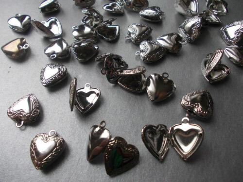 Color Plata 5 o 10 En Relieve Corazón Relicario apertura encanto colgante elegir 1