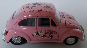 "vtg pink vw beetle bug toy car doors hood open 5""x2"" i love my"