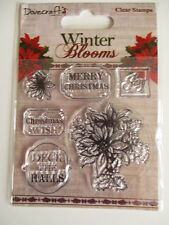 Dovecraft Winter Blooms Clear Stamps - Poinsettia , Merry Christmas , Joy