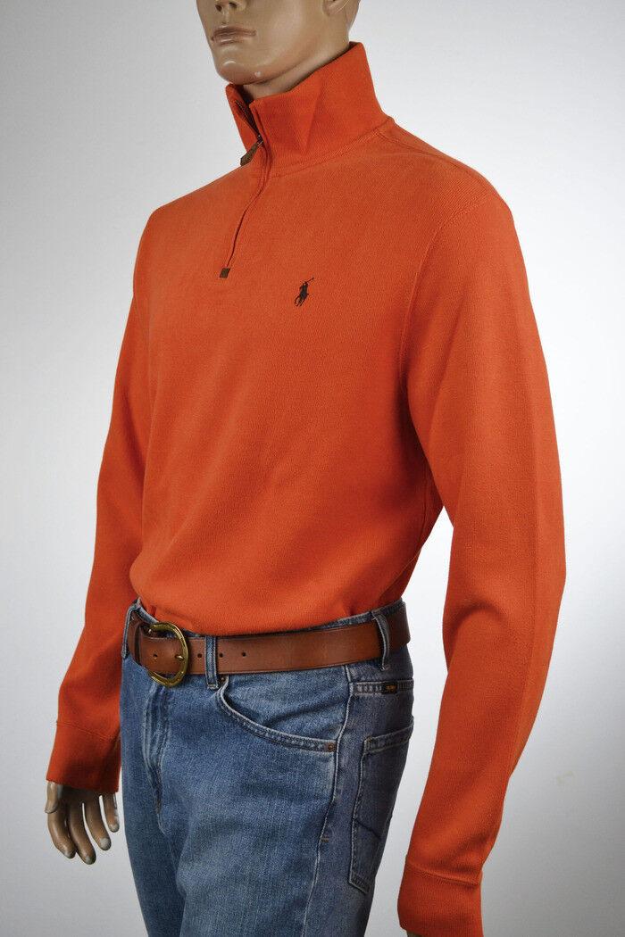 050c63fd9 Ralph Lauren orange Half-Zip Sweater Pony-Large-NWT French-Ribbed Brown  nzyspu1669-Sweaters