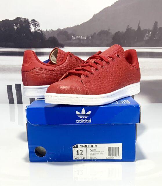 Adidas Originals Stan Smith Mens Tennis Shoes Red Reptile Snakeskin AQ2729 Sz 12