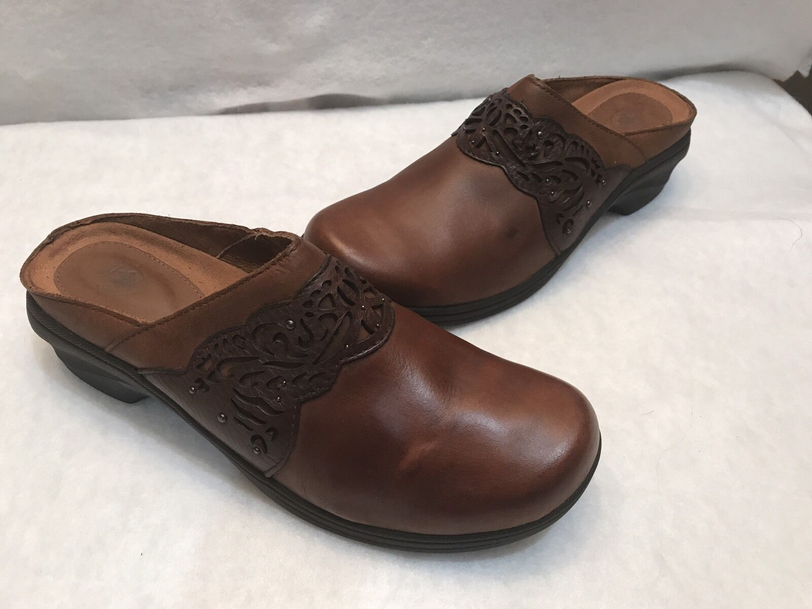 Ariat Brown Leather Clogs Slip On shoes Mules 10 B