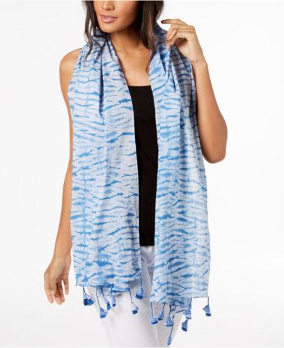 Eileen Fisher Organic Cotton Shibori Stripes Scarf Bluebell NWT