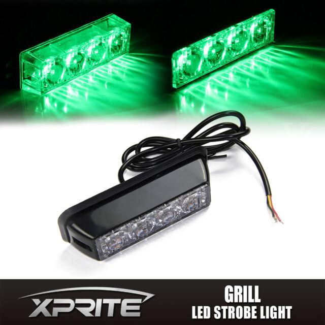 Green 4 LED Emergency Warning Vehicle Strobe Light Side Marker Deck Dash Grill