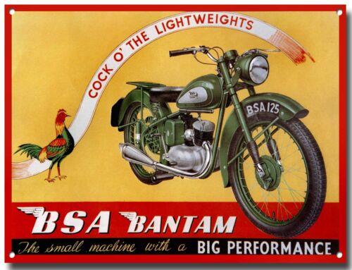 BSA BANTAM METAL SIGN.CLASSIC BRITISH BSA MOTORCYCLE.VINTAGE BSA MOTORCYCLES.