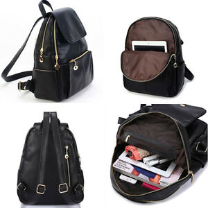 Fashion Women PU Leather Backpack School Bags Satchel Rucksack ...