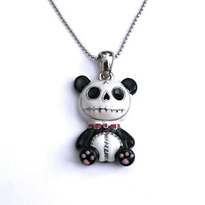 Gothic Horror Punk 80s 90s 2000s Emo Goth Skeleton Skull Panda Pendent Necklace