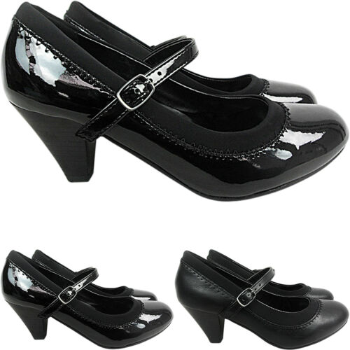 Womes Ladies Low Heel Court Mary Jane Buckle Strap Grip Shoes Pumps Office Work