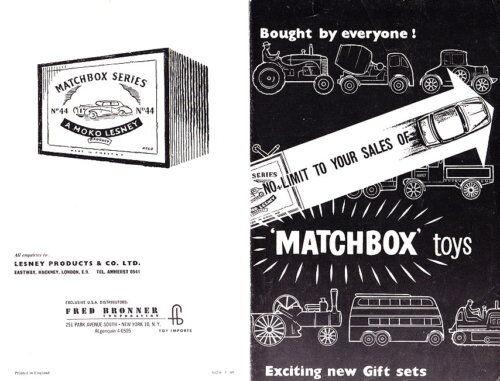 Matchbox 1960 Giftset folleto muy raras