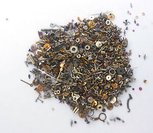 Vintage-antique-Steampunk-Watch-Parts-TINY-watch-glitter-10g-LOTS-of-pieces