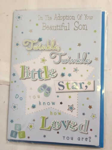 NEW INDIVIDUAL ON THE ADOPTION OF YOUR SON DAUGHTER BABY CARD BLUE PINK CARD