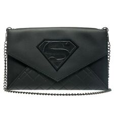 Official Superman Man of Steel Envelope Purse Wallet - DC Comics Black Chain Bag