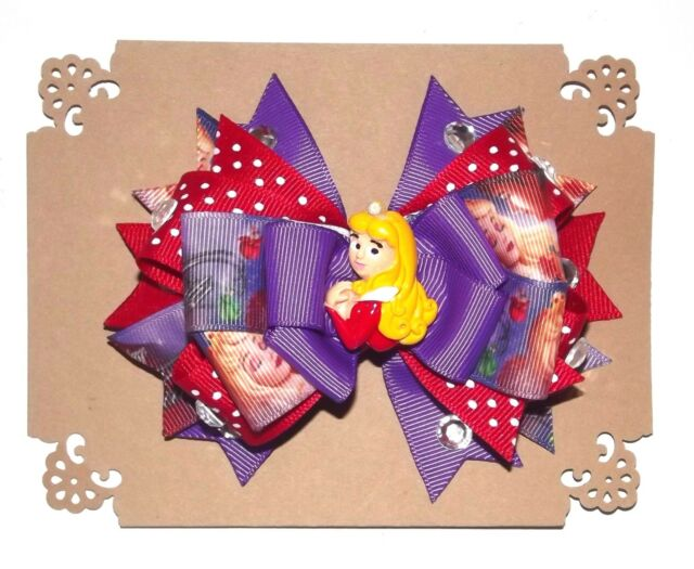 SLEEPING BEAUTY 5 Layer Disney Handmade Hair Bow with Non Slip Alligator Clip