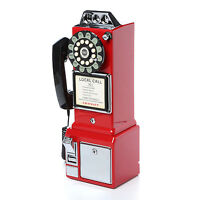 Vintage Pay Phone Old Style Retro Look Telephone Red Coin 1950 Payphone Cord