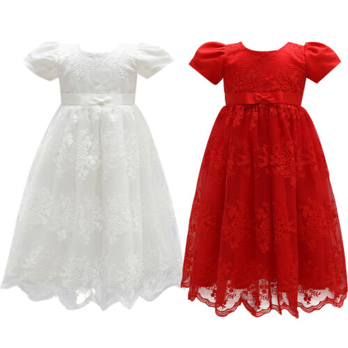 Toddler Flower Girl Dress Princess Floral Lace Gown For Birthday Baptism Wedding