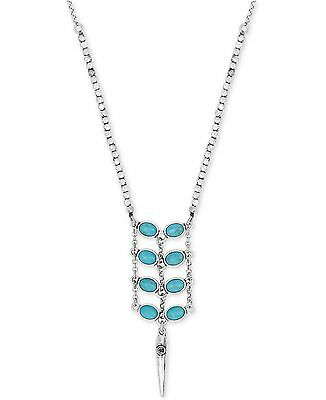 NWT Lucky Brand Silver-Tone Turquoise Blue-Stone Ladder Lariat Pendant Necklace