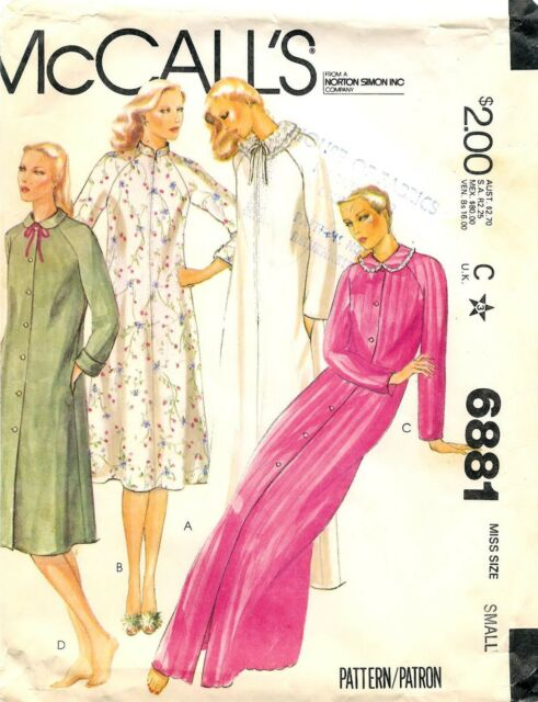 McCalls Sewing Pattern 6881 Retro Misses Robe in Two Length Sz Large ...