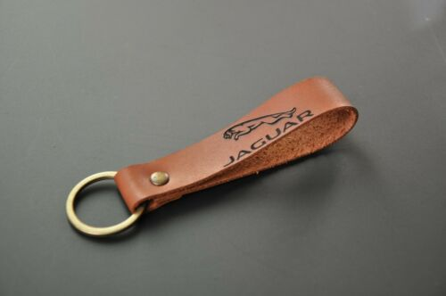 Personalized keychain. Jaguar keychain keyring leather
