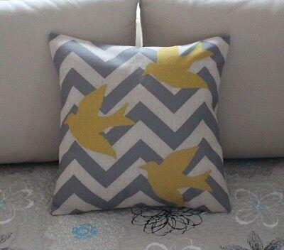 Grey Zig Zag Fly Birds Cotton Linen Throw Pillow Cushion Cover Home Decor Z513