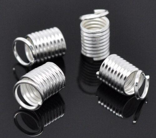Bandenden 9 x 5 mm für Schnüre Bänder Ø ca 3-3,5 mm silber 15 Spiralkappen