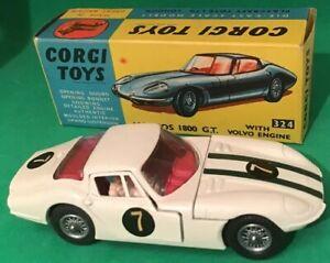 Jouets Vintage Corgi # 324 Marcos 1800 Gt avec moteur Volvo, Boîte d'origine Super Con