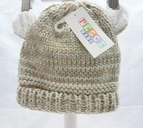 Pesci bonnet bébé hiver garçon ou mixte tricot beige chiné écru avec 2 oreilles