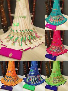 Saree-Sari-Indian-Pakistani-Ethnic-Designer-Sana-Silk-Party-Wear-Sari-Blouse