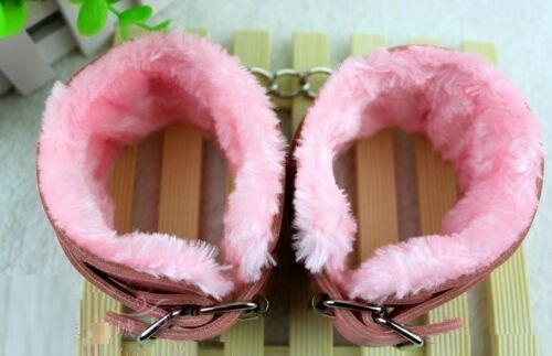 Full Colors Faux Leather /& Fur Dungeon Party Restraint Wrist Cuffs Ankle Cuff