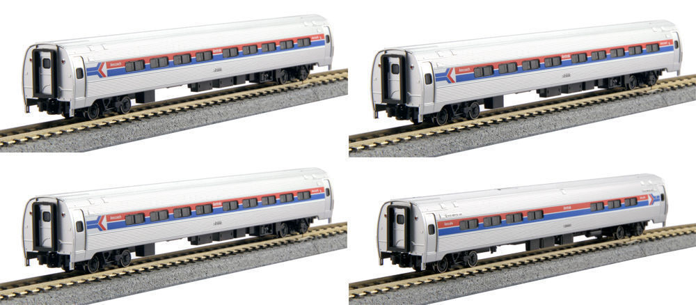 KATO 1068011 N Amtrak Amfleet Phase I Passenger 4 Car Set Bookcase 106-8011- New