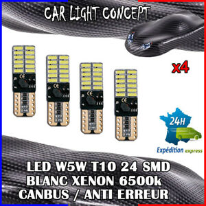 4-x-ampoule-veilleuse-Feu-LED-W5W-T10-BLANC-XENON-6500k-voiture-auto-moto-24-smd