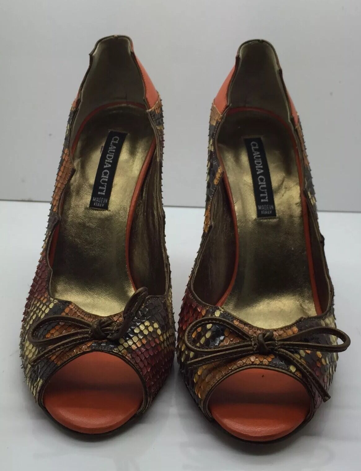 CLAUDIA CIUTI Multicolor Real Snake Skin & Leder Open Toe  Heel Bow  5.5M  Toe 4910a9