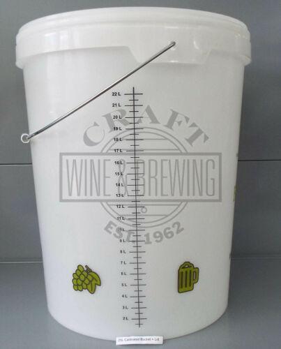 25 Litre Plastic Fermenting Bin Bucket Bored With Tap Hole Homebrew Fermentation