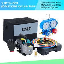 Omt 14hp 35 Cfm Vacuum Pump Amp Manifold Gauge Kit F R22 R134a R410a R404a Hvac