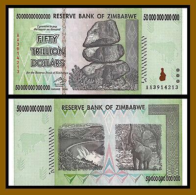 2008 50 TRILLION DOLLARS ZIMBABWE BANKNOTE AA P-90 GEM UNC 100 TRILLION SERIES