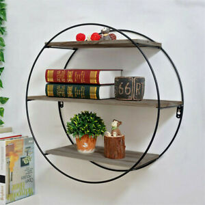 Large Round Wall Unit Industrial Iron Style Retro Metal Wood Home Shelf Storage