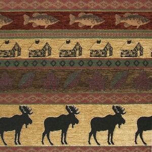 LODGE-UPHOLSTERY-FABRIC-MOUNTAIN-LODGE-CABIN-RUSTIC-MOOSE-FISH-LEAVES