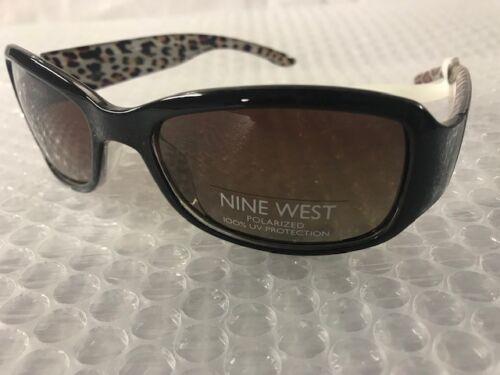 NEW Nine West Womens Black Rectangle Sunglasses Cheetah Fashion Trendy Cute A29