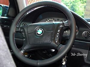 Para-Bmw-Serie-5-E39-Real-Color-Negro-De-Cuero-cubierta-del-volante-M3-Costura-95-04