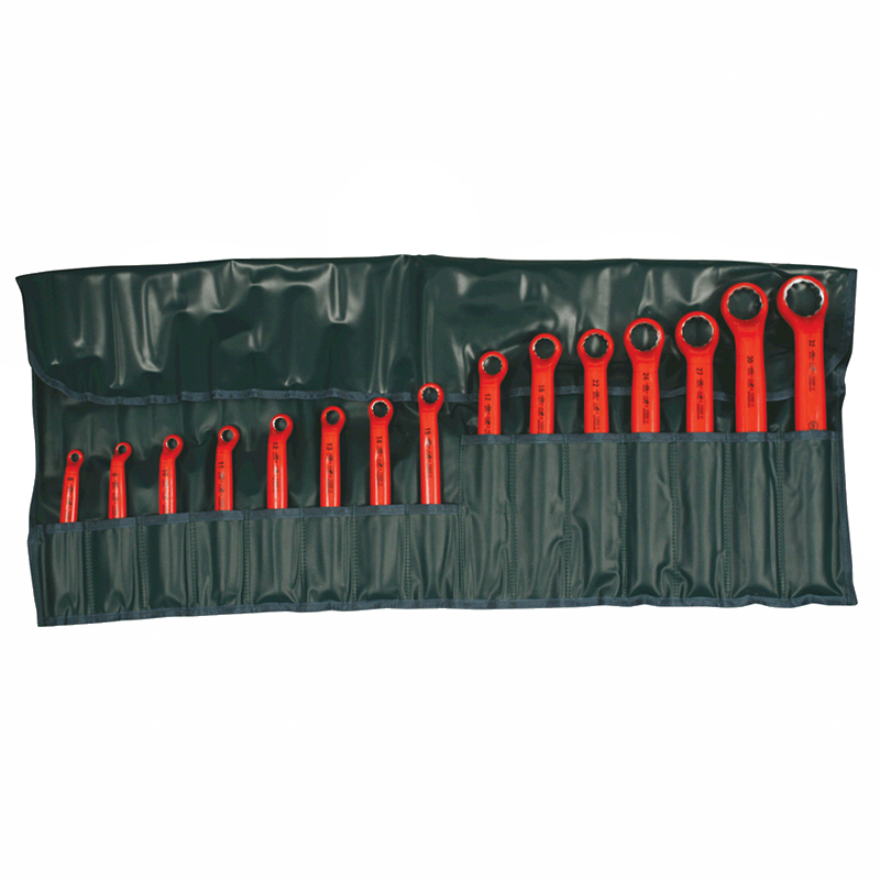 Wiha 21093 Insulated Metric Deep Offset Angled 15 Degree Ring Wrench Set