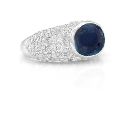 925 Sterling Silver Ring Blue Sapphire Natural Cocktail Size 4-11