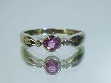 14k white gold Bezel set pink sapphire ring with diamond accents size 7