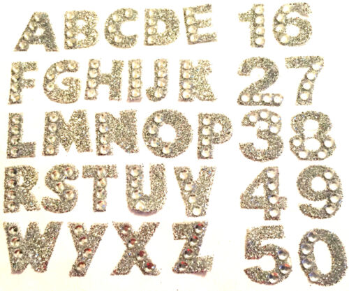 1.5cm Self Adhesive Stickers Silver Diamante Letters//Numbers Cards Crafts Car
