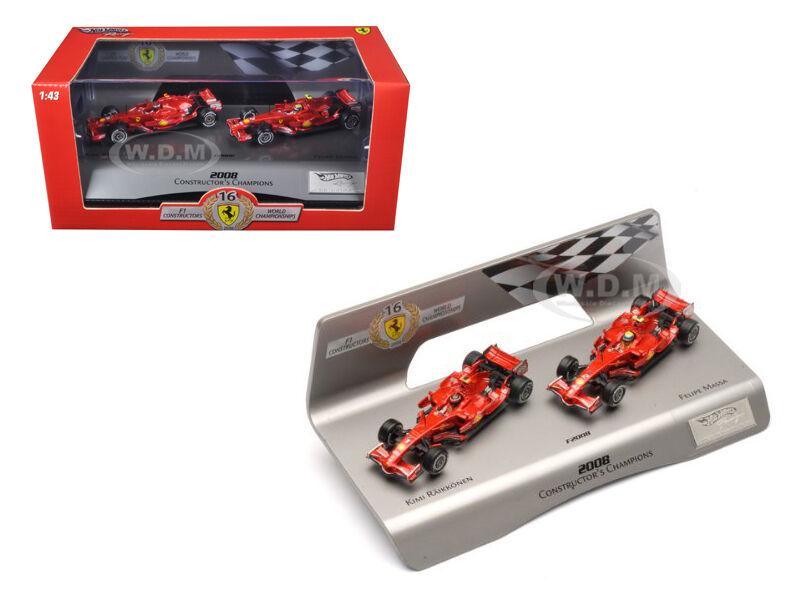 Ferrari F1 F2008 Kimi & Massa constructores 1 43 Auto Modelo por Hotwheels l8784